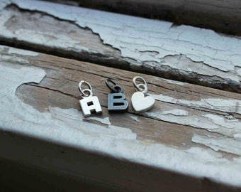 One Letter Charm, Personalized Jewelry, Sterling Silver Initial pendant, custom initial, wedding gifts, best friends, new mom