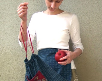 Harvest Apron in Teal and Burgundy