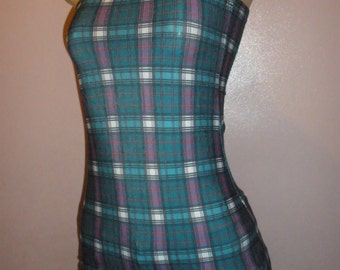 Adorable Handmade Plaid Print Halter Top, Size Small/Meduim, Tub Top, Ladies Top, Girls Top