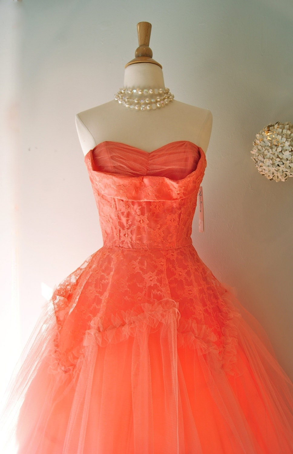 RESERVED 50s Dress // 1950s Prom Dress // Vintage 1950s Coral