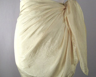 Mini Sarong - Short Pareo - Crinkled Silky Satin -  Pastel Yellow Sarong - Swimsuit Cover up - Beach Skirt - Beachwear