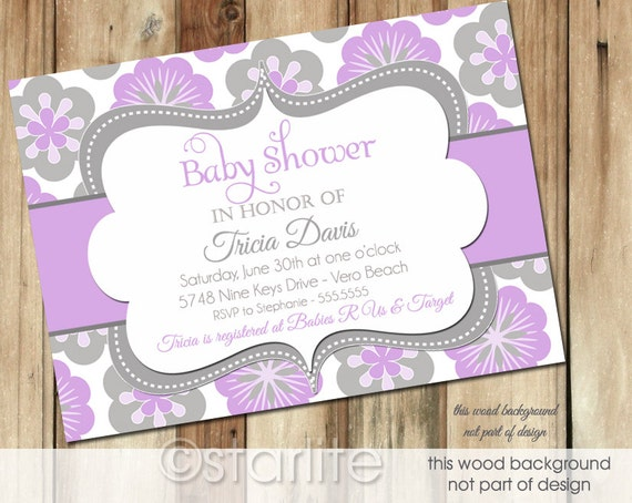 lavender gray baby shower invitation lilac grey floral by starwedd, Baby shower