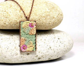 Bridesmaid Flower Necklace Antique Copper Pendant Sage Yellow Beige Rose Crochet Flower Pendant