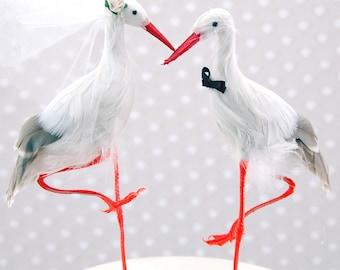 Crane Wedding Cake Topper: Bride & Groom Love Bird Cake Topper  - Stork / Heron / Egret