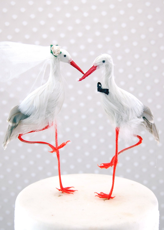 Crane Wedding Cake Topper Bride & Groom Love Bird Cake