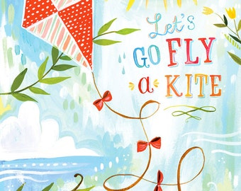 Fly a Kite Paper Print | Inspirational Wall Art | Kid's Art | Hand Lettering | Katie Daisy