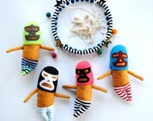Luchador Baby Mobile for a Colorful Modern Nursery // Little handmade masked luchador flying wrestlers to keep your little one entertained