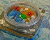 Little Beach with Crabs, Turtles, and Starfish in a Miniature Diorama Jar