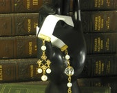 Princess' Pearls - 9 Inch White Velvet Ribbon Bookmark with Pearls and Fleur Charm