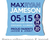Birth announcement pillow new baby gift custom blue pillow with WHITE print