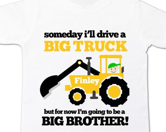 Big brother to be big truck excavator pregnancy announcement Tshirt