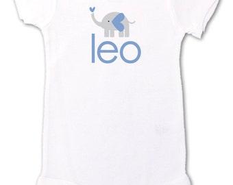 Personalized simple MOD elephant baby bodysuit