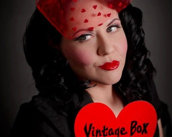 Sweetheart Peek A Boo Veil - Available in Red, Black and Pink