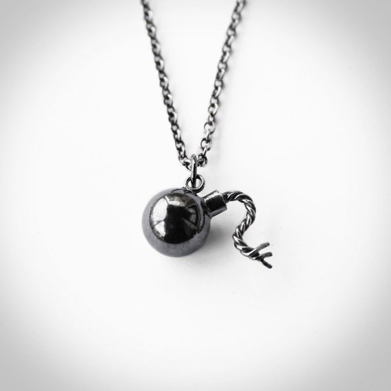 Bomb Charm Pendant Sterling Silver 18in chain