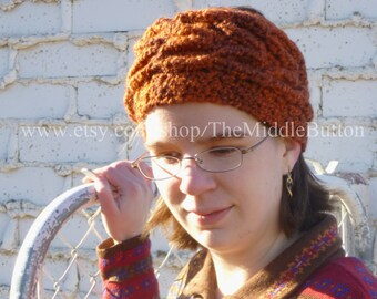 Daphne - Leaf Cable Headwrap - In Pumpkin Pie Spice