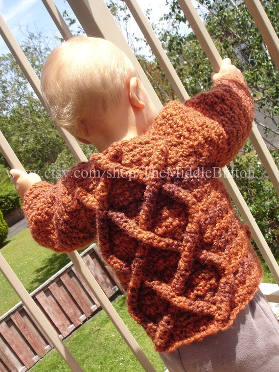 Conan - Cabled Sweater for Boys and Girls - 9 to 12 months - In Mixed Spice