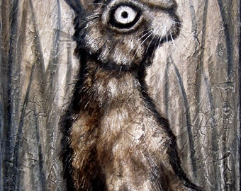 Standing Hare signed and matted print, from an original painting by Eden Bachelder, rabbit, Halloween