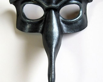 Beaked domino leather mask, gloss black with pewter crackle and highlights, Halloween