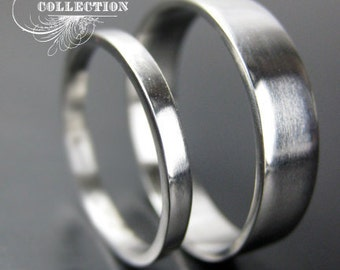 Set Recycled Palladium Wedding Bands Simple and Polished 2mm and 4mm