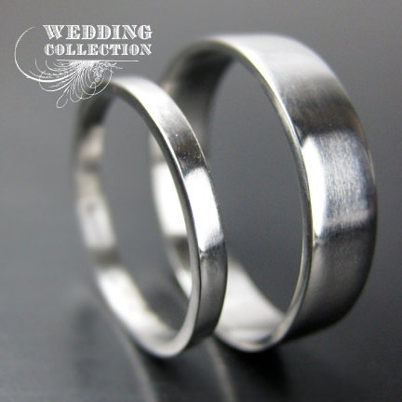Set Recycled Palladium Wedding Bands Simple And Polished 2mm