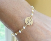 Script Font ID bracelet, Gold Initial bracelet, pearl bracelet, bridesmaid gift, gold bracelet, monogram jewelry, Personalized jewelry