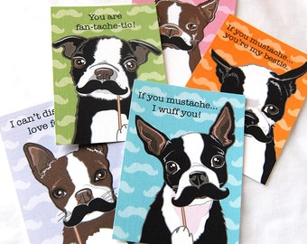 Boston Terrier Mustache Valentine Cards - Eco-friendly Set of 5