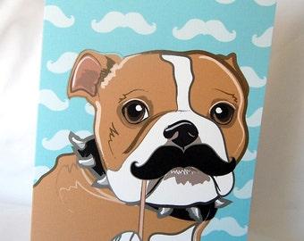 Mustache Bulldog Greeting Card