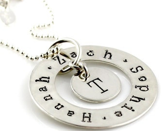 Love Circle hand stamped and personalized sterling silver necklace with initial charm