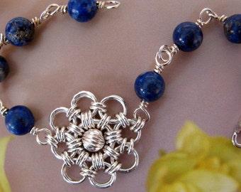 Sterling Silver Flower Bracelet, Wire Wrapped Lapis Lazuli, Handmade Chainmaille, Blue Silver Bracelet