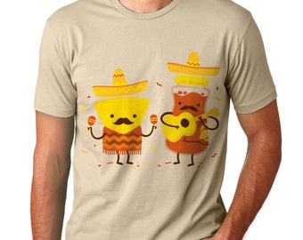Mens Mustache T Shirt, Mexican T Shirt, Music, Chips and Salsa, Creme, American Apparel, S M L XL XXL