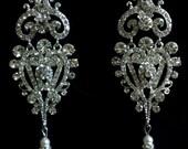 Statement Bridal Earrings, Long Chandelier Earrings, Pearl Drop Earrings, Victorian Wedding Jewelry, CHARLOTTE