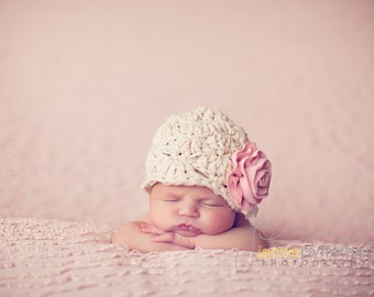 CUSTOM Baby Girl Hat ... Newborn Photo Prop ...  Flower Hat ... Newborn Baby Hat ... Vintage Baby Hat ... Dumpling (size newborn)