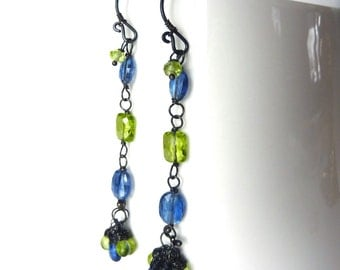 Kyanite and Peridot Earrings -  Oxidized Sterling Silver - One of a Kind - Tagt - Free Shipping