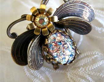 Flower Moth Ring with Vintage Glass Opal
