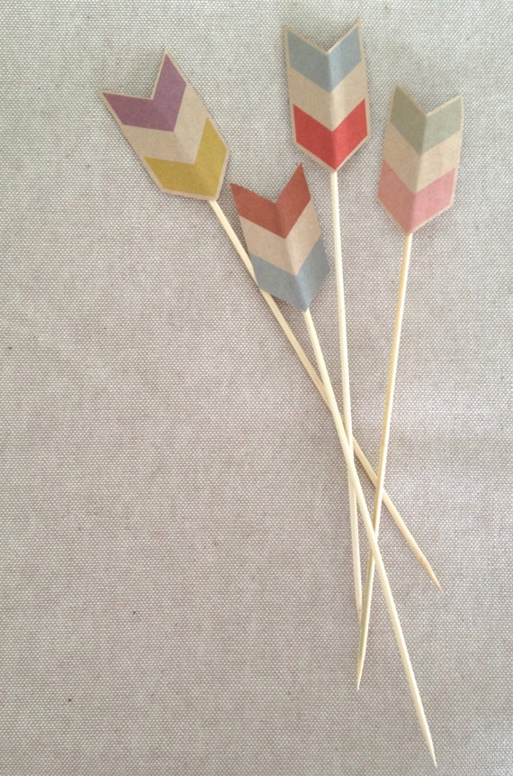 Rustic Chevron Cake Topper and Drink Stirrer  // Kraft Paper // Country Wedding