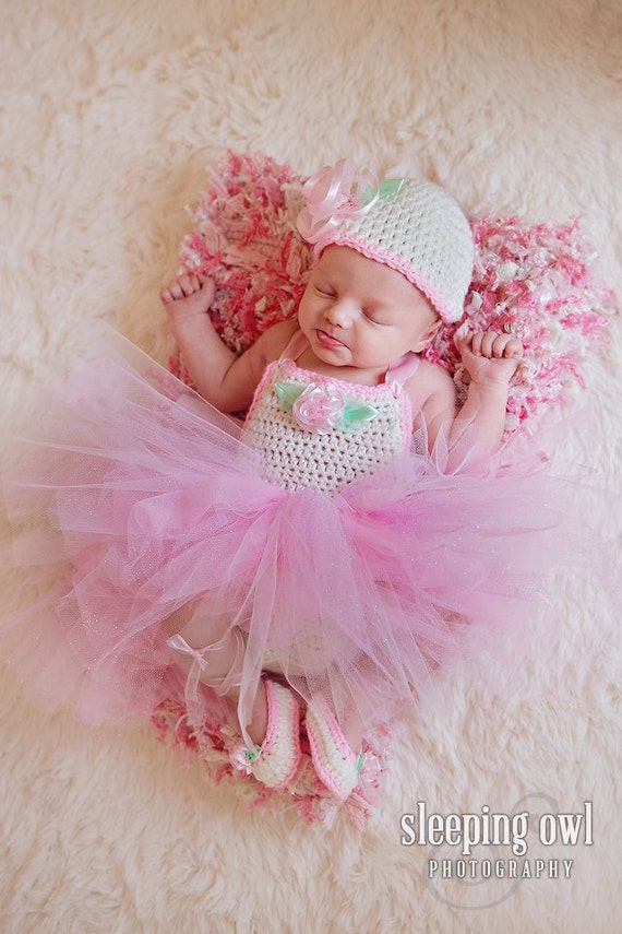 Baby Girls Crochet Dress Romper Tutu Hat Nitamaesgarden