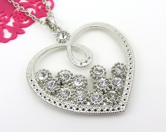 Silver Heart With Rhinestone Pendant Necklace