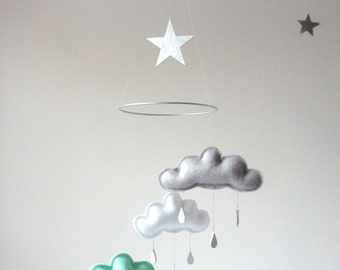 "Grey,White,Mint cloud mobile for nursery "" SOHO"" with silver star by The Butter Flying-Rain Cloud Mobile Nursery Children Decor"