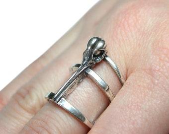 Solid Sterling Silver Hummingbird Skull Ring  on Adjustable Cage Band  Bird Skull  256