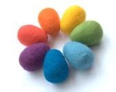 Easter felted eggs or balls 7 Rainbow needle felt wool Waldorf toy montessori home decor spring birthday gift tree ornaments
