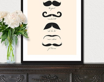 Monsieur Moustache - French 8x10 inch Print on A4 (in Cream and Black)