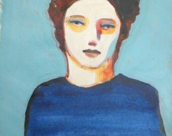 Waiting, limited edition print 2/50 of original acrylic portrait in blue and gold by Rowena Murillo