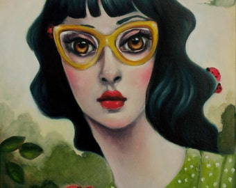 Yellow Glasses. One of a kind original oil painting on stretched canvas. Hand built carved wooden frame. 16x20
