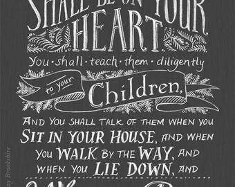Teach Them Diligently - Chalkboard Bible Verse Art Print - 11x14