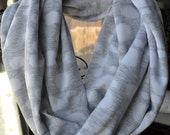SALE Gray and White Circle Jaqard Print Infinity Scarf