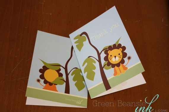 "JUNGLE LION Baby Shower Printable Thank You Card - 4"" x 5.5"" or 5"" x 7"" Printing Available"