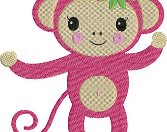 Monkey Girl Pink Zoo Jungle Machine Embroidery Designs 4x4 & 5x7 Instant Download Sale