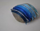 recycled textile art stone from cotton threads in blue shades and organic linen, home decor, collectible item, handmade original art