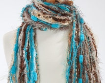 Sophisticated - Knotted Fringe Scarves Womens Scarf - Turquoise, Cream, Beige and Brown