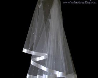 Short Wedding Veil, Radiance Veil, Fingertip Veil, 2-Tier Veil, Ribbon Veil, Swarovski Crystal Veil, Pearl Veil, Custom Veil, Handmade Veil